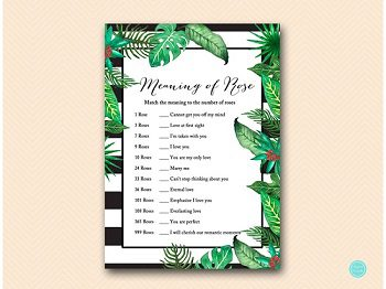 BS428-meaning-of-rose-Luau Bridal Shower, Tropical Bridal Shower Game Printable