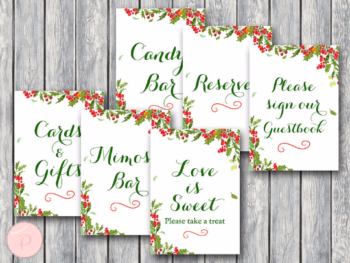 christmas-bridal-shower-table-signs-package