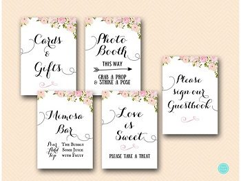 PINK PEONIES BRIDAL SHOWER DECORATION SIGN PRINTABLE MIMOSA GUESTBOOK FAVORS
