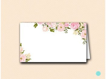 WD67 Name Cards 6 per page-ivory pink flower wedding name cards placecard 2