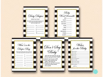 black stripes gold baby shower game package printable download tlc442 35