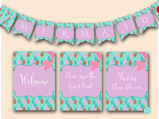 Mermaid Baby Shower Signs Mermaid Banner Labels 5