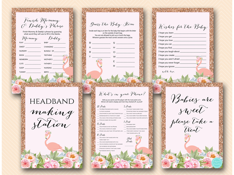 Pink Rose Gold Flamingo Baby Shower Game Signs