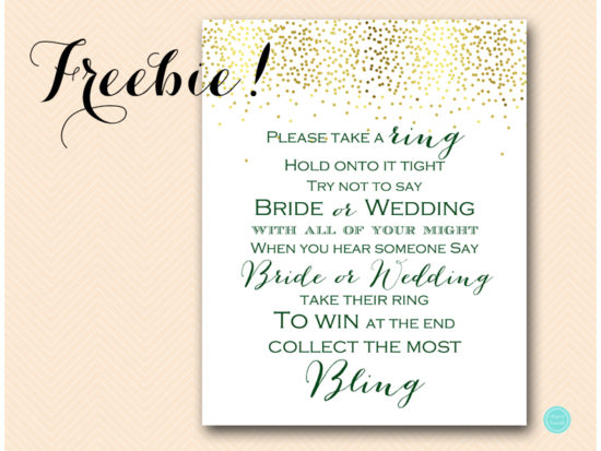 Free forest green bridal shower games printabell express bs472g dont say wedding bride ring green forest filmwisefo Gallery