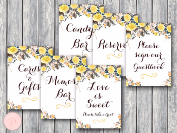 rustic-yellow-bridal-shower-table-signs-package