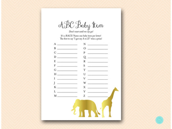 Gold Jungle Safari Baby Shower Game Package 2 Printabell Express