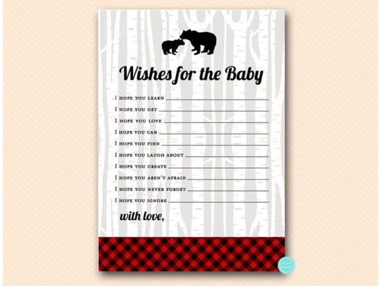 Wishes For Baby Showers ~ Lumberjack baby shower game package u2013 red buffalo placid