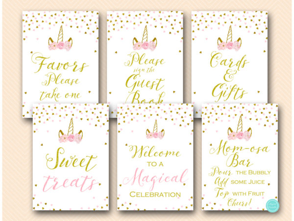 Pink Gold Unicorn Baby Shower Decoration Signs Printables