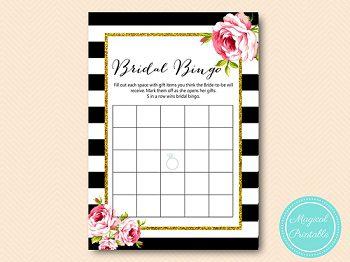 BS10B-bingo-bridal-gift-items-black-stripes-pink-floral-chic-bridal-shower-sqaure