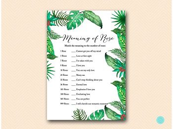 BS428-meaning-of-rose-Luau Bridal Shower, Tropical Bridal Shower Game Printables