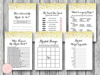 gold confetti wedding shower games