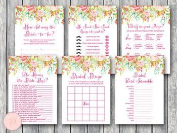 Pink Garden Wedding Shower Game Pack