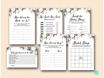 White floral bridal shower game printable package