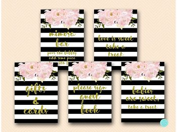 black-gold-floral-bridal-shower-decoration-signs-wedding-3