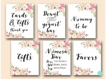 boho-floral-baby-shower-table-signs-bridal-wedding-gifts-favor-signs