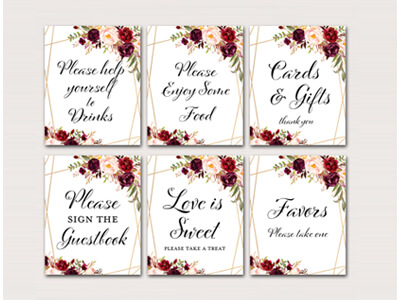 burgundy-wedding-signs