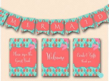 coral-mermaid-baby-shower-signs-mermaid-banner-labels4