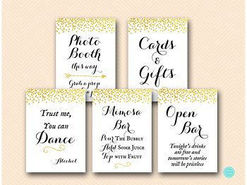 gold glitter wedding bridal shower decoration signs 350