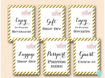 gold-stripes-travel-themed-bridal-shower-baby-signs4