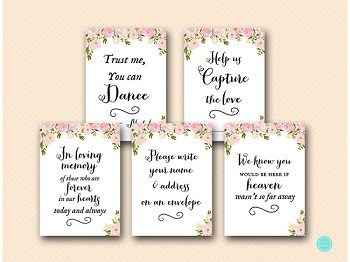 pink peonies wedding decoration signs printable wd67