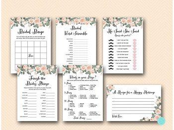 pink roses floral bridal shower game printable package th03