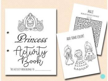 Princess Activity and Coloring Book Printable Download