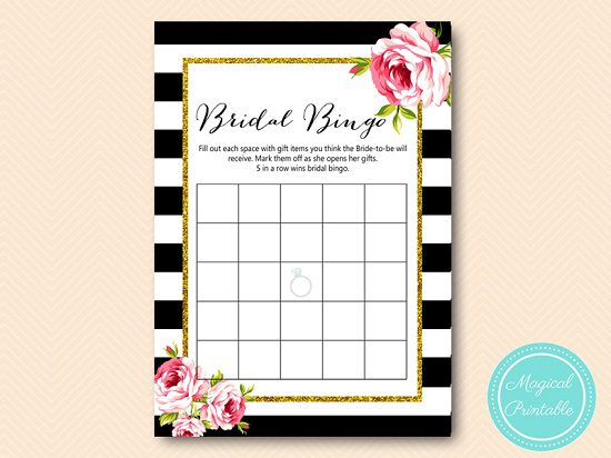 BS10B-bingo-bridal-gift-items-black-stripes-pink-floral-chic-bridal-shower-sqaure