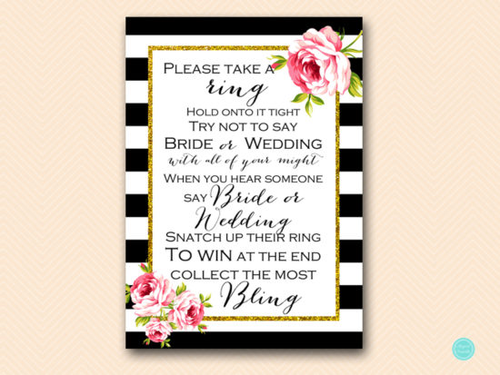 BS10B-dont-say-bride-or-wedding-black-stripes-floral-chic-bridal-shower-game