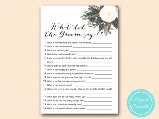 White Flower Bridal Shower Games Printabell Express
