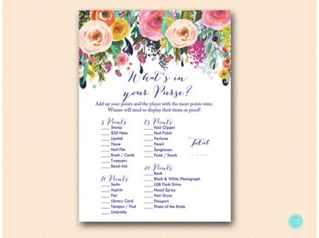 BS438-whats-in-your-purse-floral-garden-bridal-shower-game