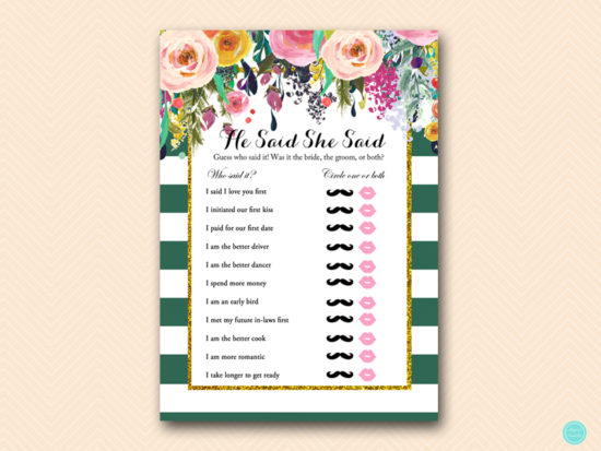 BS440-he-said-she-said-forest-green-bridal-shower-games