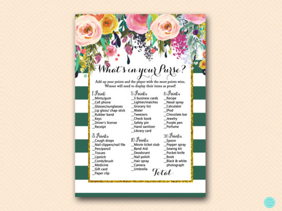BS440-whats-in-your-purse-forest-green-bridal-shower-games
