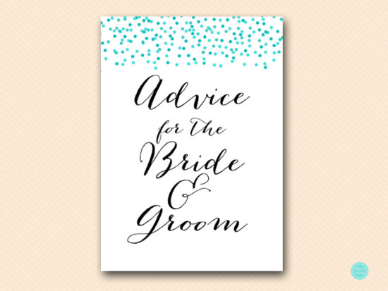 BS441-advice-for-bride-groom-sign-tiffany-aqua-confetti-bridal-shower