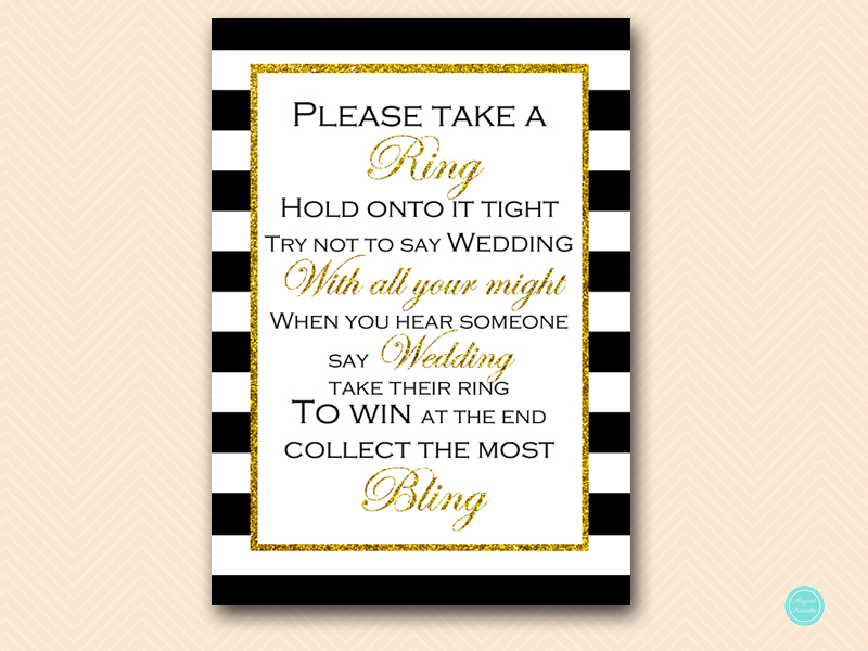 bs442 dont say wedding gold bridal shower game