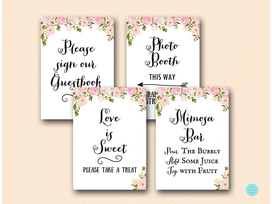 PINK PEONIES BRIDAL SHOWER DECORATION SIGN PRINTABLE MIMOSA GUESTBOOK