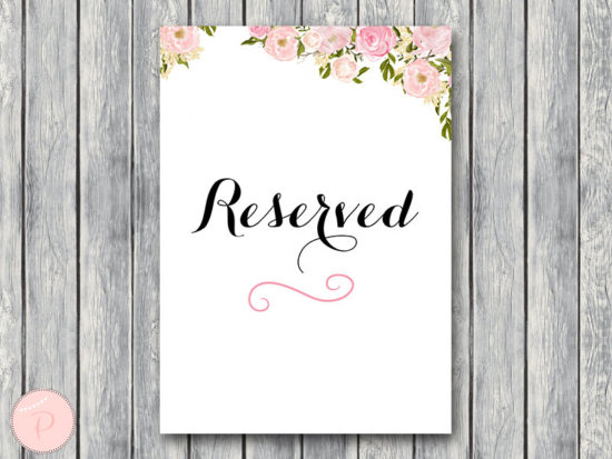 Reserved sign, Wedding Reserved seating sign
