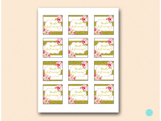sn432 thank you tags gold and pink floral bridal shower favors baby shower