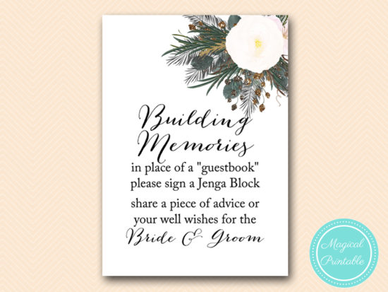 SN437-sign-building-memories-vintage-white-flower-bridal-shower-sign-wedding