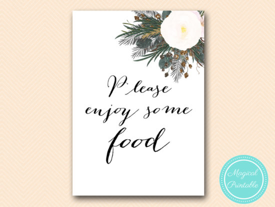 SN437-sign-food-enjoy-vintage-white-flower-bridal-shower-sign-wedding