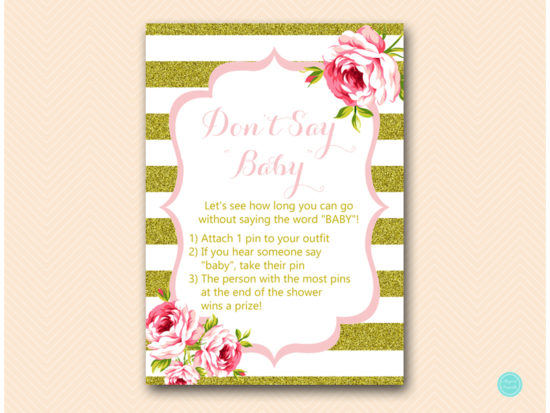 TLC432-dont-say-baby-5x7 Pink and Gold Baby Shower Games