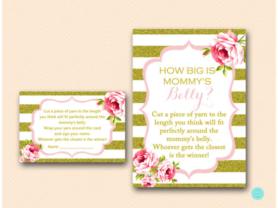TLC432-how-big-is-mommys-belly-5x7 Pink and Gold Baby Shower Games