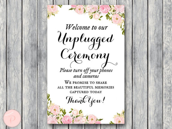 Unplugged Ceremony Sign, No phones or cameras, Turn off phones