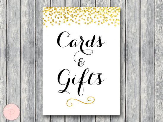 WD47c-Gold Cards and Gifts Sign, Download, Decoration