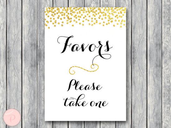 WD47c-Gold Favors Sign, Wedding Favor sign, Shower Favors sign