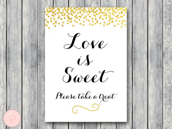 WD47c-Gold Love is sweet, take a treat sign, Thank you sign