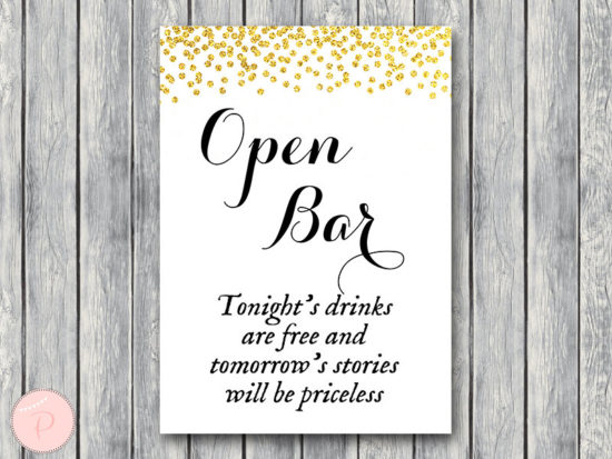 WD47c-Gold Open bar sign, Wedding Open bar Sign, Drinks are free