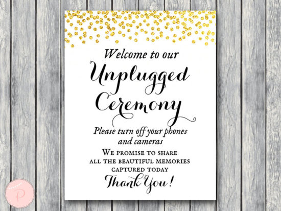 WD47c-Gold Unplugged Ceremony Sign, No phones or cameras