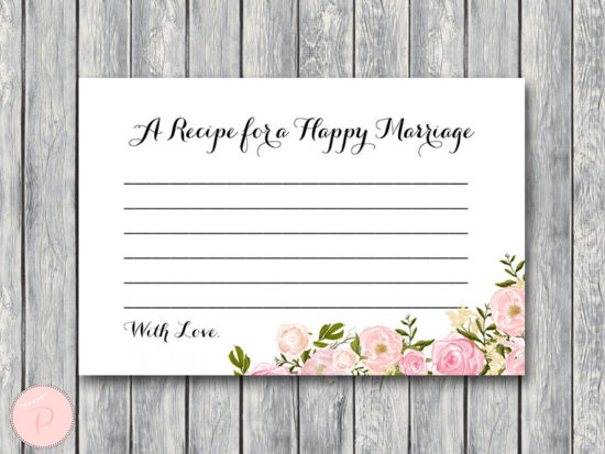 WD67-Pink A Recipe for a Happy Marriage Printable Card