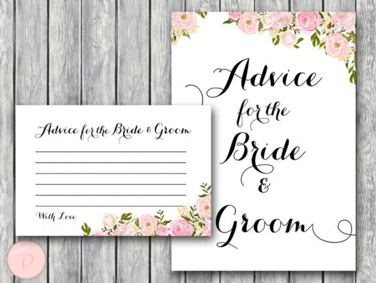 WD67-Pink Advice for Bride Groom Card & Sign