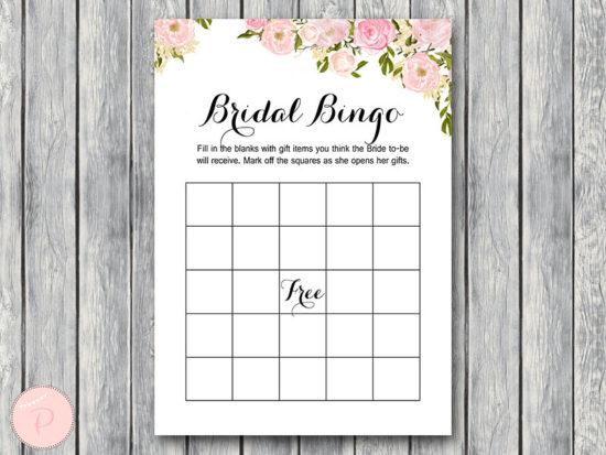 WD67-Pink Bridal Shower Bingo, Printable Bridal Bingo